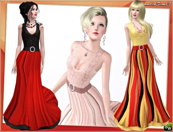 Belted mesh gown. 3 recolorable areas, 3 color variations, custom mesh. 