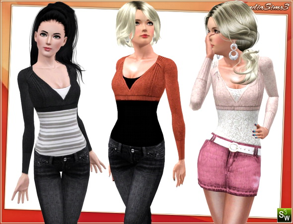 Layered top for your sims 3 females. 3 recolorable areas, 3 color variations, custom cas and launcher thumbnails