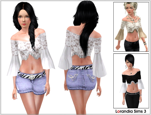 Flared sleeves lace strapless top, asymmetric cut with ruffles. 3 recolorable areas, 3 color variations, custom mesh by Lorandia Sims 3