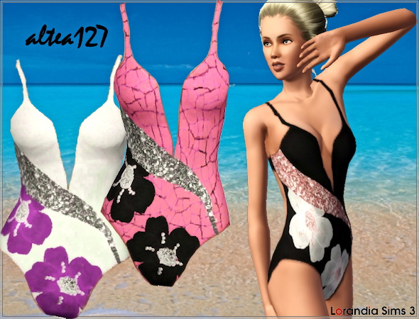 Floral One Piece Swimwear. Recolorable, 3 color variations, custom cas and launcher thumbnails.