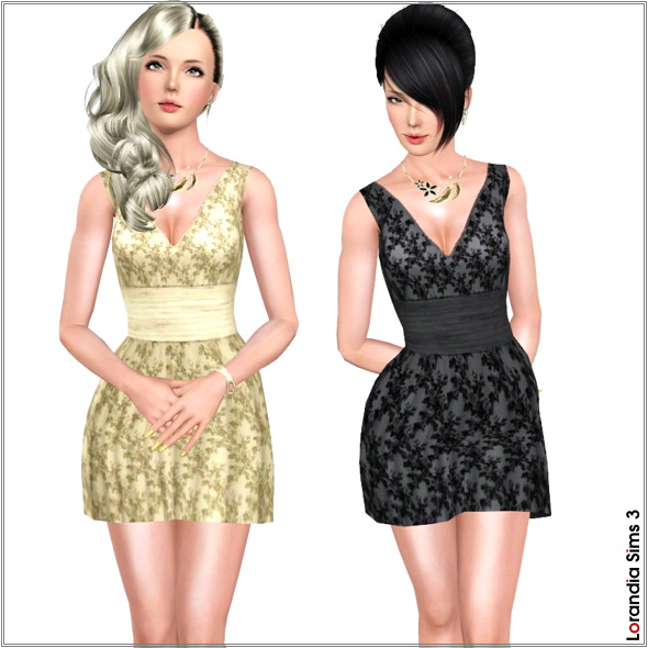 Lace dress in 3 recolorable areas, 2 color variations included, custom cas and launcher thumbnails, custom mesh by Lorandia Sims 3