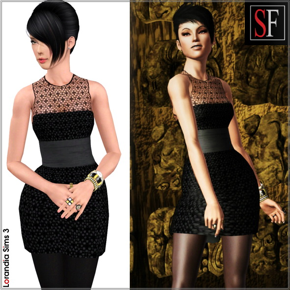 Belted Mesh Dress included in Spiked collection featured on SF Magazine Issue 18. 2 recolorable areas, new custom mesh by Lorandia Sims 3