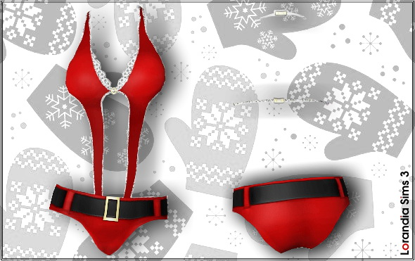Miss Santa Christmas lingerie. 4 recolorable areas, custom cas and launcher thumbnails.