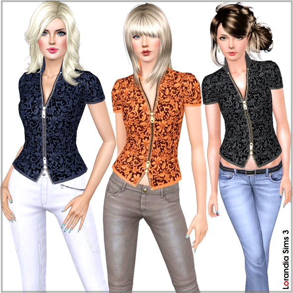Zipped Lace Blouse. 2 recolorable areas, 3 color variations, custom CCAS and launcher thumbnails, base game compatible