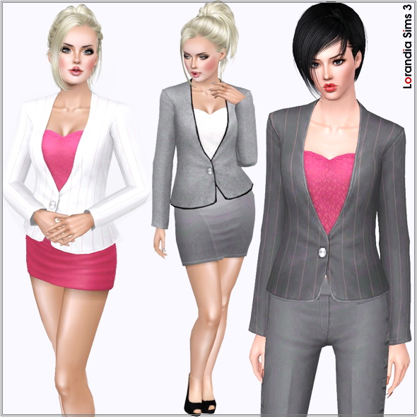 Suit jacket featuring a large semi transparent lace heart, in Valentine spirit. 4 recolorable areas, 5 color variations, Base game compatible