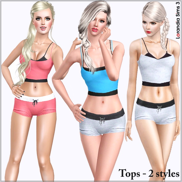 Sport layered top for females. 2 recolorable areas, 4 color variations in the same pack, custom cas and launcher thumbnails.