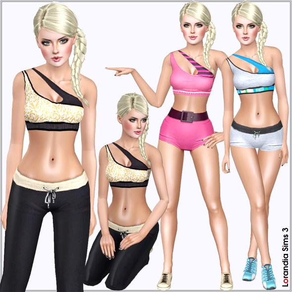 Sport top, 4 recolorable areas, 3 color variations in the same pack, custom cas and launcher thumbnails, base game compatible