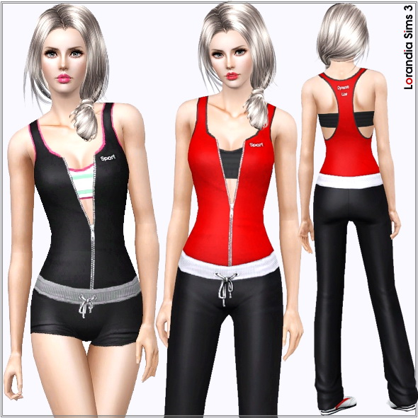 Layered athletic top featuring a front zip. 4 recolorable areas, black, trendy poppy red and Barbie pink color variations included.