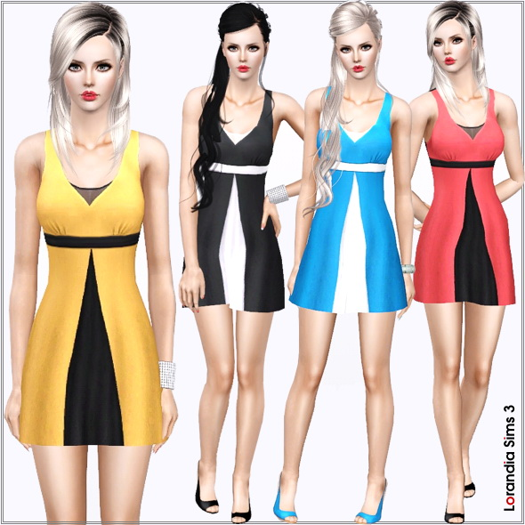 Two-tone Babydoll dress. 2 recolorable areas, 4 color variations included in the same pack, custom thumbnails, new custom mesh.