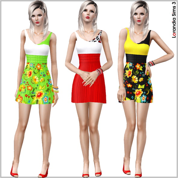 Pleated summer dress in 2 styles, plain and floral. 4 recolorable areas, 3 variations included, custom thumbnails, custom mesh.