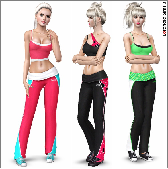 Flirty Fitness Pants for your athletic Sims. 4 recolorable areas, 3 color variations, custom cas and launcher thumbnails, base game compatible