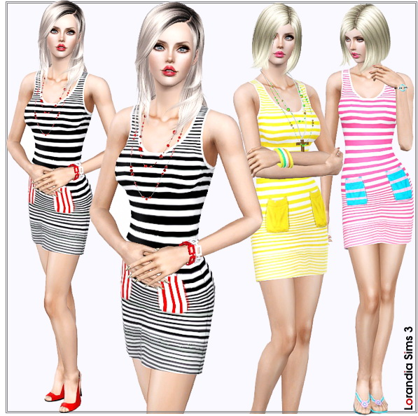 Easy to wear striped dress in trendy summer colors. 3 recolorable areas, 3 color variations, custom thumbnails, custom mesh, base game compatible