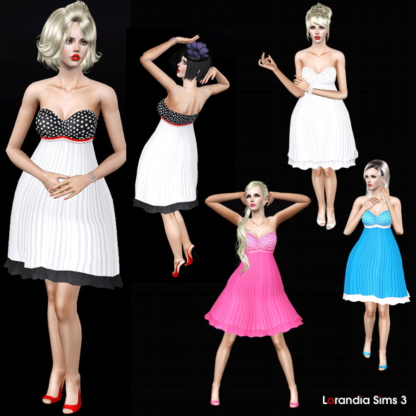 Princess flared dress in a retro chic style. 4 recolorable zones, 4 color variations including wedding dress, new custom mesh base game compatible.