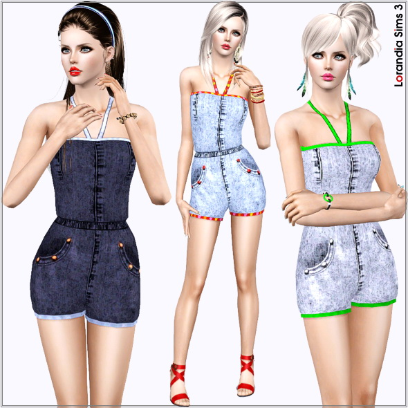 Denim romper for females. 3 recolorable areas, 3 color variations, custom CAS and launcher thumbnails, base game compatible.