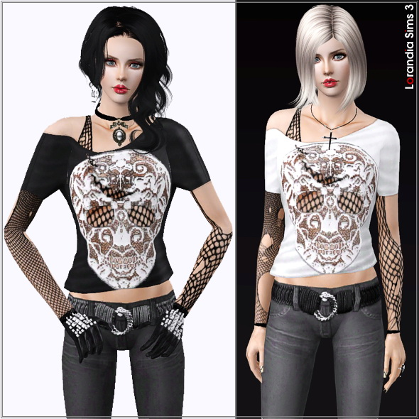 Gothic lace skull top, 3 recolorable areas, 3 color variations, custom cas and launcher thumbnails, base game compatible.