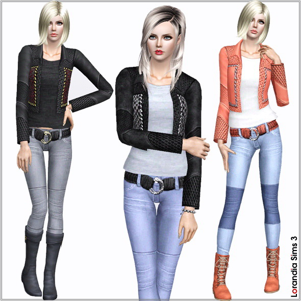 Leather jacket with studs, new custom mesh, base game compatible, 3 color variations, 4 recolorable areas, custom cas and launcher thumbnails.