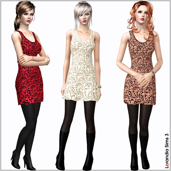 Lace tank dress for your Sims 3 females. 2 recolorable layers, 4 color variations included, custom mesh, custom thumbnails.
