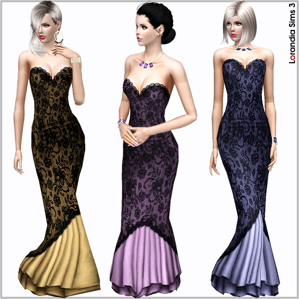 Mermaid lace gown, 2 recolorable areas, 3 color variations included, custom cas and launcher thumbnails, custom mesh.