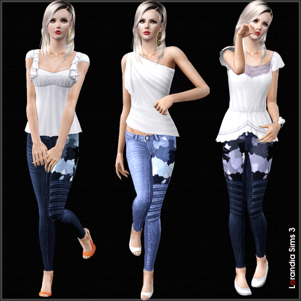 Block Camouflage Skinny Jeans in 2 styles asymmetrical and symmetrical. 3 recolorable areas, 3 color variations, custom cas and launcher thumbnails.