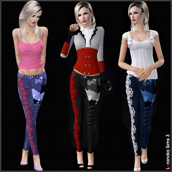 Mixed asymmetrical camouflage and lace skinny jeans. 4 recolorable areas, 3 color variations, custom cas and launcher thumbnails.