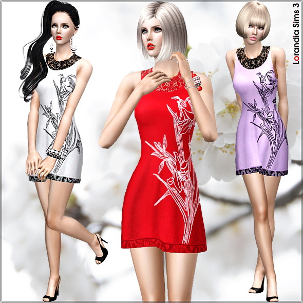 Simple spring dress with Japanese inspired graphic and lace details. 4 recolorable areas, 3 color variations, custom mesh.