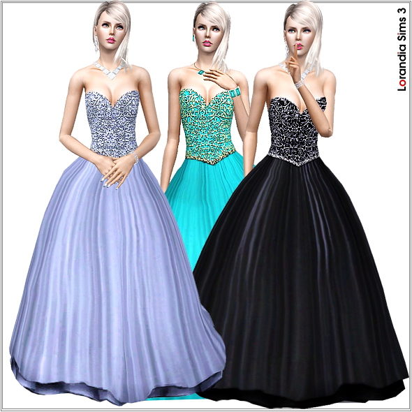 Princess gown, 3 recolorable areas, 3 color variations, custom CAS and launcher thumbnails, custom mesh, base game compatible.
