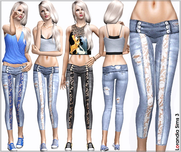 Ripped Lace Skinny Jeans, 4 recolorable areas, 3 color variations, custom CAS and launcher thumbnails, base game compatible