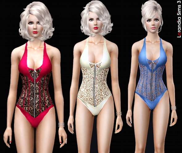 Zipper front lace body. 3 recolorable zones, 4 color variations, custom thumbnails, base game compatible.