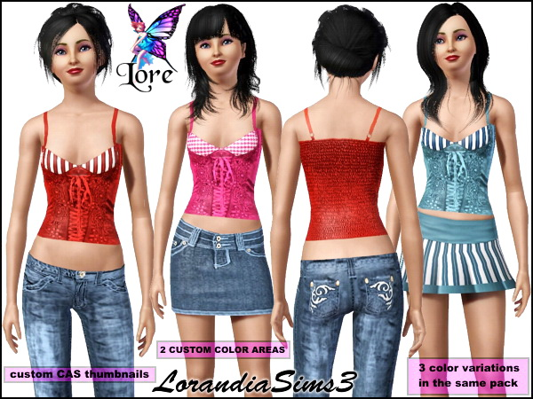 Fitted corset tank in 2 recolorable areas. 3 color variations, custom CAS thumbnails in the same pack.