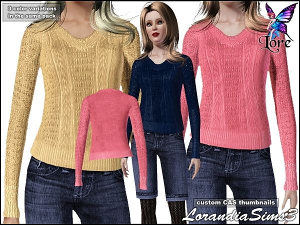 Sweater for your Sims3 female. 3 color variations in the same pack, custom CAS thumbnails.