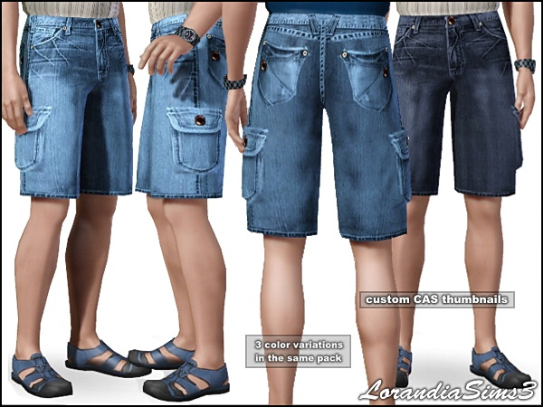 Knee lenght cargo jeans for your Sims3 male. 3 color variations in the same pack, custom CAS thumbnails.