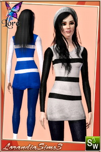 Long sweater and leggings in this casual outfit for your sims 3 famale outwear wardrobe. 3 recolorable areas, 3 color variations in the same pack .