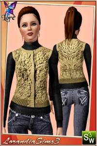 Knitted loopy fringe gilet with popper fastening over the roll neck sweater in this winter clothing for your sims3 female outerwear wardrobe.