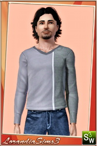 Long tee for your sims 3 male wardrobe. 3 recolorable areas, 4 color variations in the same pack, custom CAS thumbnails