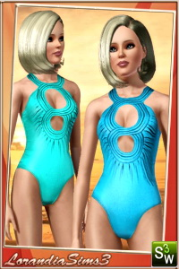 One piece swimwear in this monokini swimsuit for your sims3 female. Recolorable, 3 color variations, custom CAS thumbnails, custom bump