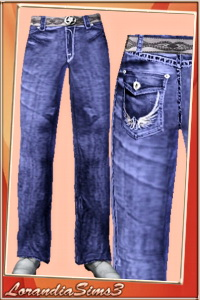 Belted jeans featuring a classical 5 pockets construction for your sims 3 male wardrobe. 2 recolorable areas, 3 color variations,custom CAS thumbnails