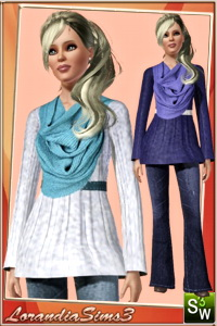 Belted flared woolen sweater featuring a scarf around the neck for your chic sims3 female outwear wardrobe. 3 recolorable areas, 3 color variations, custom meshes.