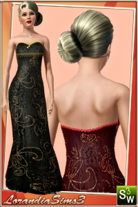 Golden applique embroidery gown for your sims 3 female evening wardrobe. 2 recolorable areas, 3 color variations, custom CAS thumbnails, custom mesh