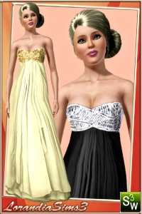Strapless organza gown for your sims 3 female evening wardrobe. 2 recolorable areas, 3 color variations, custom thumbnails, custom bump and mesh
