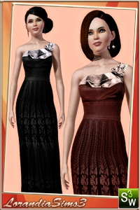 Asymmetrical gown featuring silk and mesh fabrics, tie back and zipper closure. 2 recolorable areas, 3 color variations, custom CAS and launcher thumbnails.