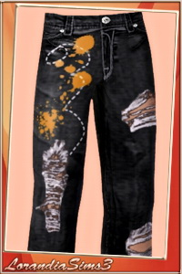 Distress painted jeans for your male sims wardrobe. 3 recolorable areas, 3 color variations in the same pack, custom CAS thumbnails.