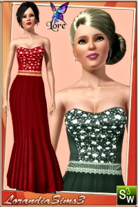 Mermaid gown featuring a rhinestone corset top, for your sims 3 female evening wardrobe. 3 color variations, 2 recolorable areas.