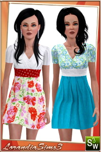 Dress, new mesh for your sims 3 teen females wardrobe. 3 recolorable areas, 3 color variations, custom thumbnails, custom mesh by LorandiaSims3