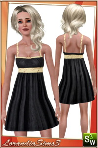 Spaghetti straps BabyDoll Dress, new mesh for your sims 3 teen females. 3 recolorable areas, 3 color variations, custom mesh by LorandiaSims3