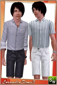 Short pants new mesh for your sims 3 males wardrobe. 2 recolorable areas, 3 color variations, custom new mesh by LorandiaSims3