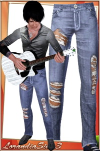 Ripped skinny jeans for your sims 3 male rock style wardrobe. 3 recolorable areas, 3 color variations, custom thumbnails, sims3pack and package.