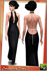 Open back formal dress for your sims 3 females. 2 recolorable areas, 3 color variations, custom thumbnails, custom mesh by Lorandia Sims3
