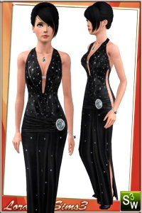 Gown for your sims 3 females. 3 recolorable areas, 4 color variations in the same pack, custom thumbnails, custom mesh by Lorandia Sims 3