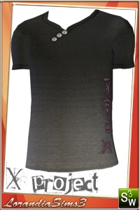 X Project t-shirt for your sims3 males. 4 recolorable areas, 3 color variations in the same pack, custom cas and launcher thumbnails