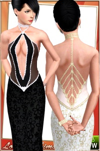 Open back mesh gown for your sims 3 females formal wardrobe. 4 recolorable areas, 3 color variations, custom cas and launcher thumbnails.
